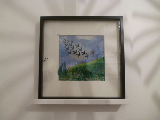 Flock of birds painting framed