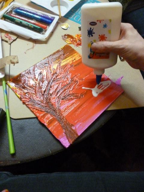 Karen's beautiful, vibrant painting in progress
