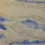 Birds and clouds, pen and watercolour on watercolour paper