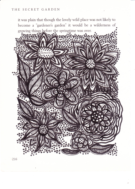Book page drawing - Secret Garden