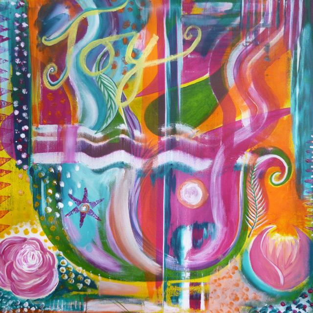 Joy, acrylic on canvas, work in progress.